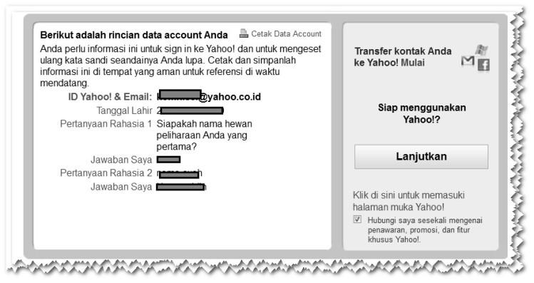Selesai Pendaftaran pada Yahoo